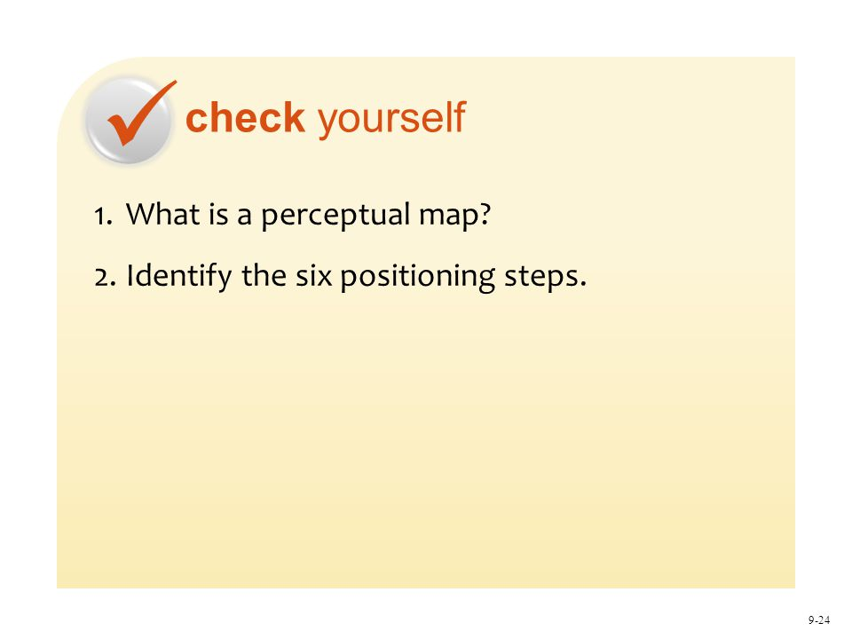 check yourself 9-24 1.What is a perceptual map? 2.Identify the six positioning steps.