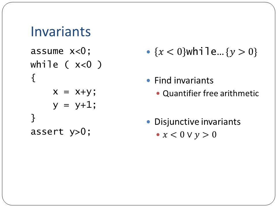 Invariants assume x<0; while ( x<0 ) { x = x+y; y = y+1; } assert y>0;
