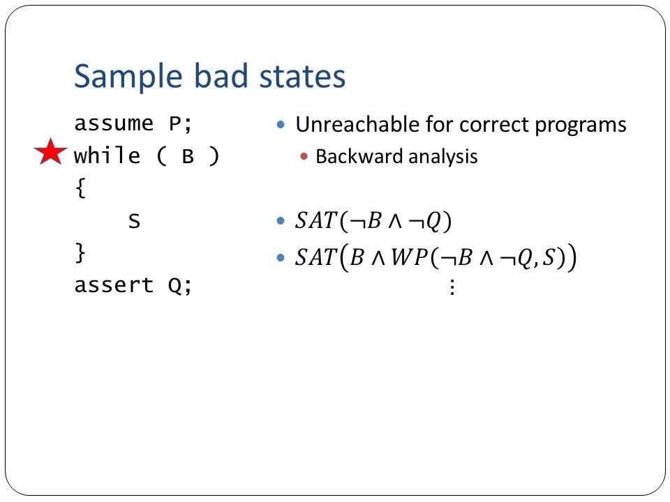 Sample bad states assume P; while ( B ) { S } assert Q;