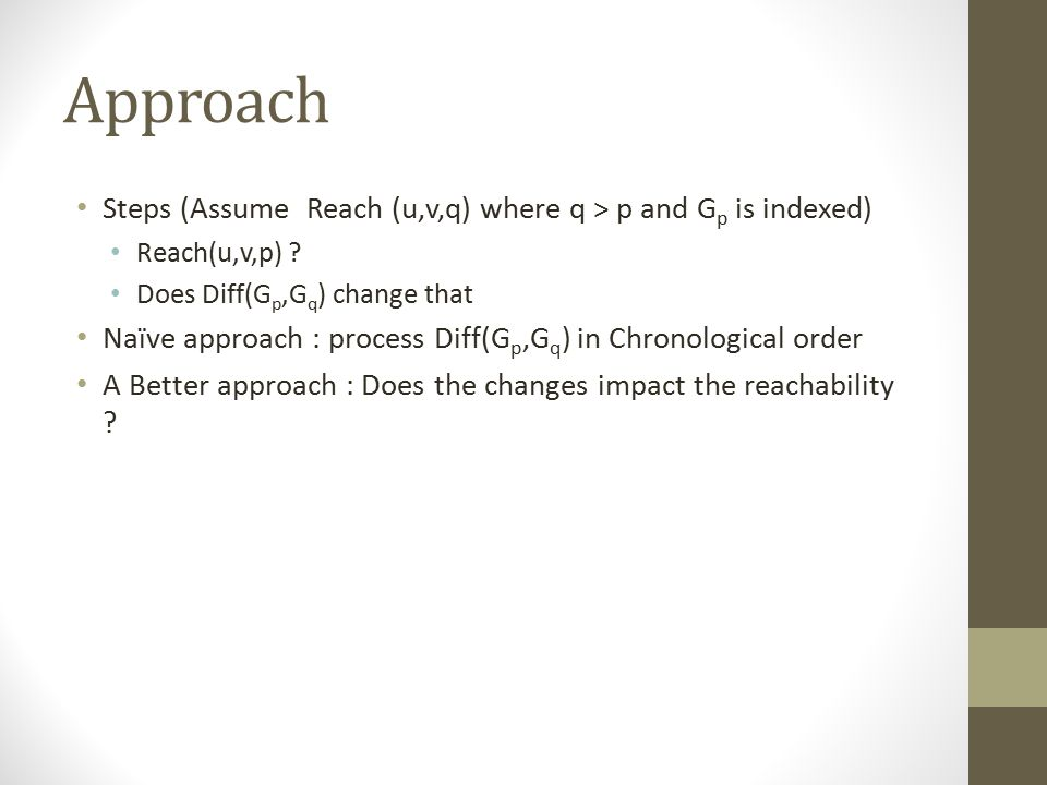 Approach Steps (Assume Reach (u,v,q) where q > p and G p is indexed) Reach(u,v,p) .