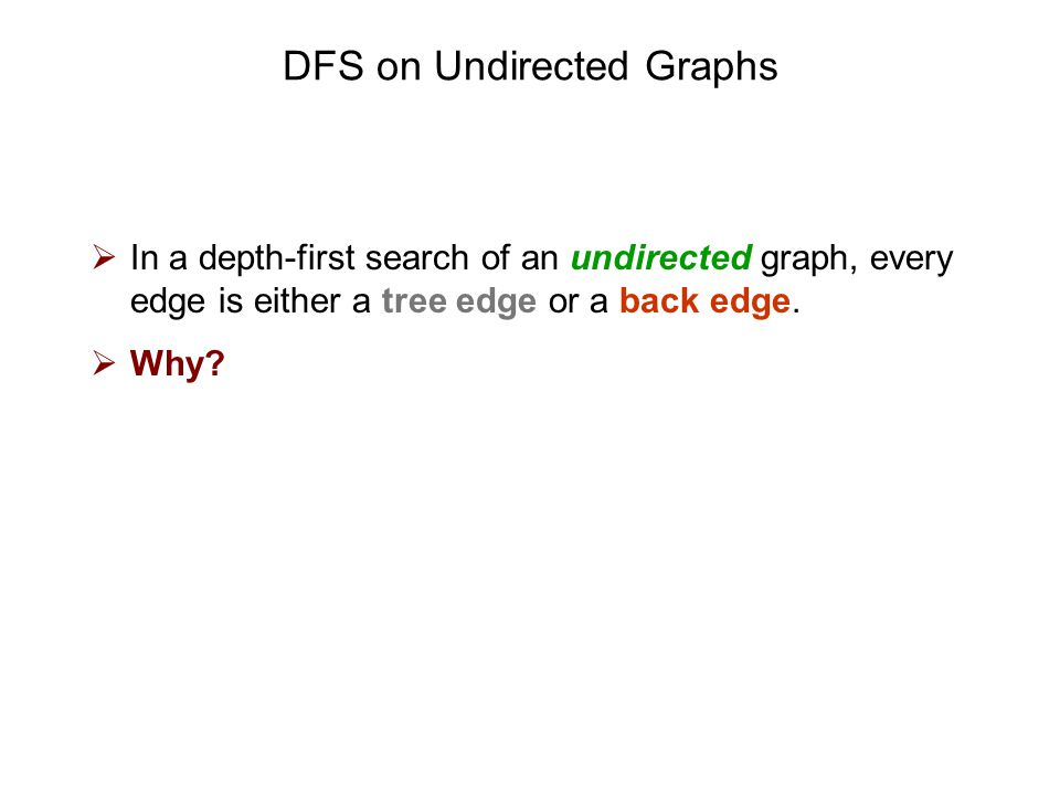 DFS on Undirected Graphs  In a depth-first search of an undirected graph, every edge is either a tree edge or a back edge.