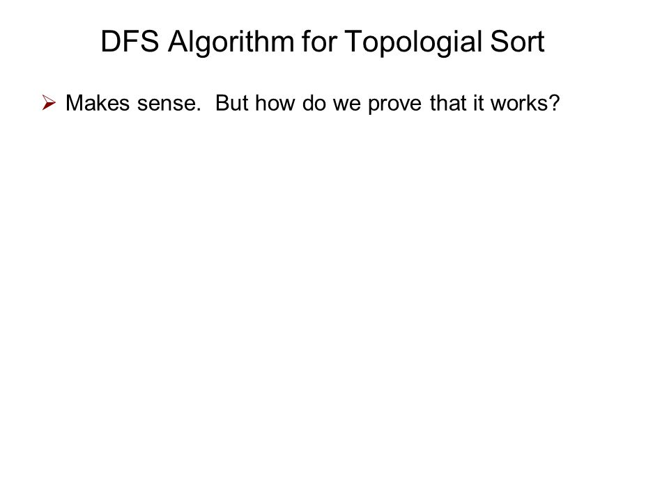 DFS Algorithm for Topologial Sort  Makes sense. But how do we prove that it works