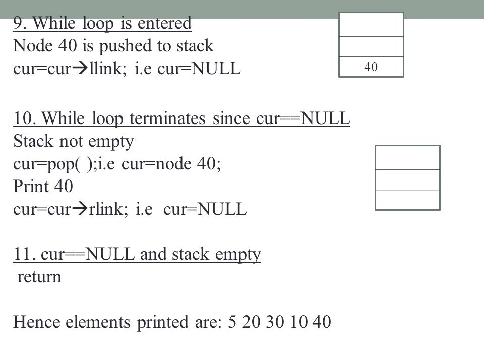 9. While loop is entered Node 40 is pushed to stack cur=cur  llink; i.e cur=NULL 10. While loop terminates since cur==NULL Stack not empty cur=pop( )