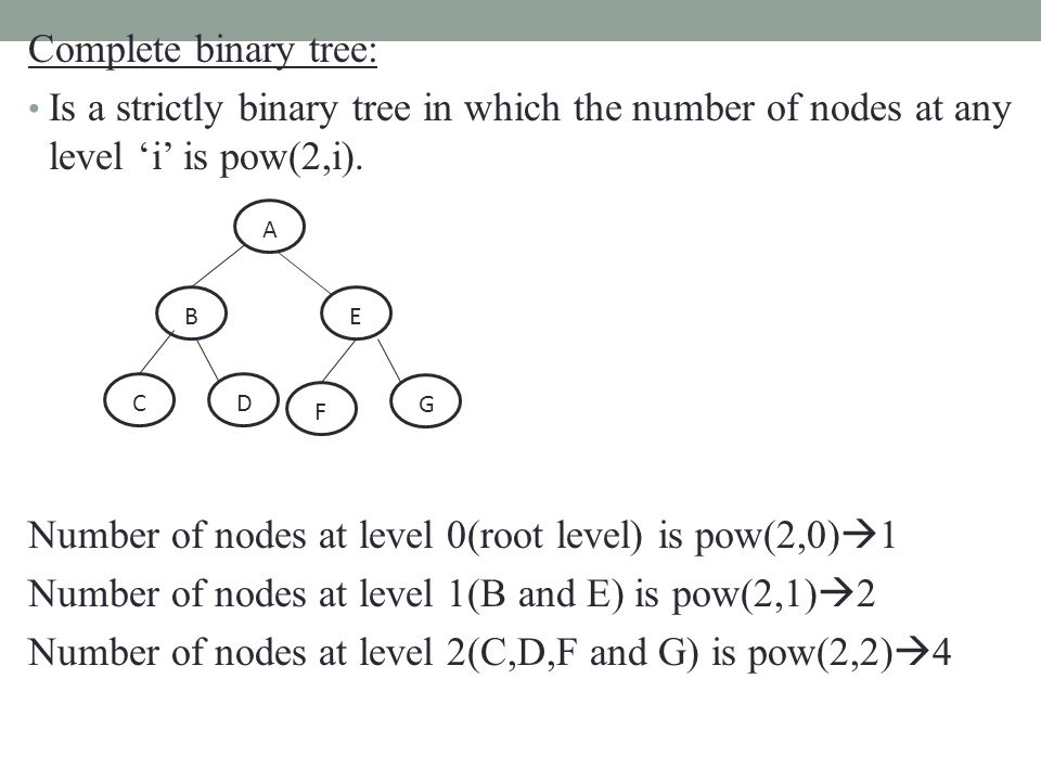Complete binary tree: Is a strictly binary tree in which the number of nodes at any level 'i' is pow(2,i).