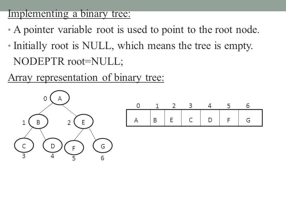 Implementing a binary tree: A pointer variable root is used to point to the root node.