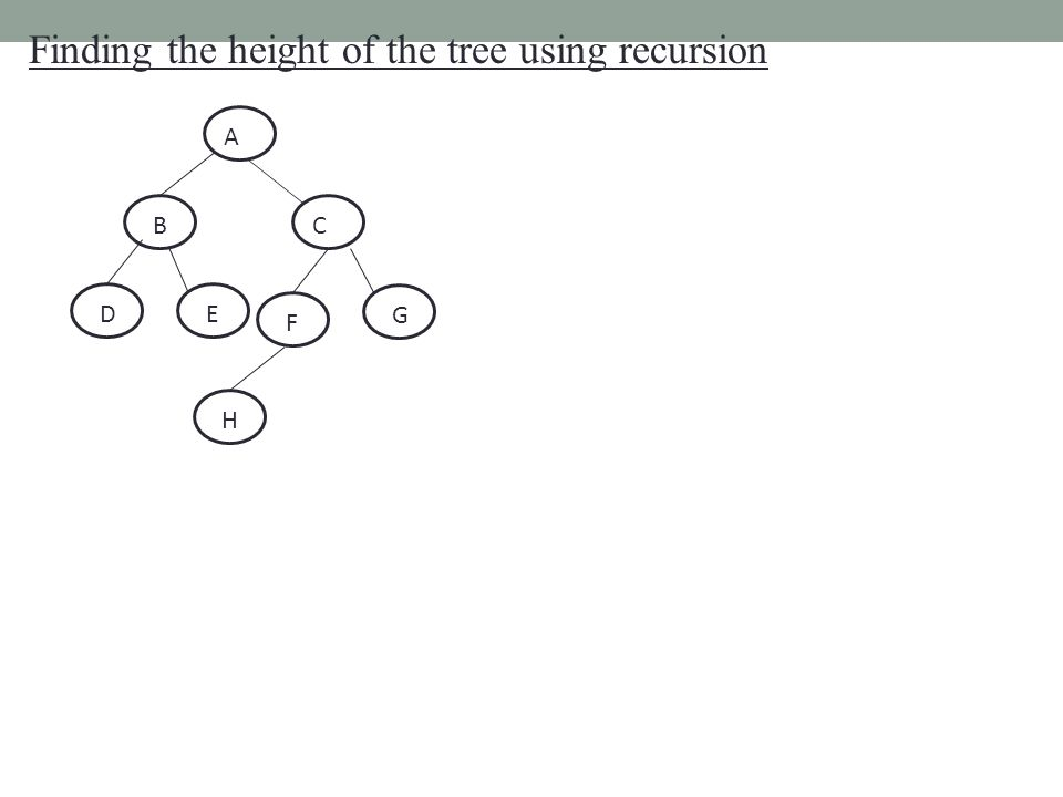 Finding the height of the tree using recursion A BC DE F G H