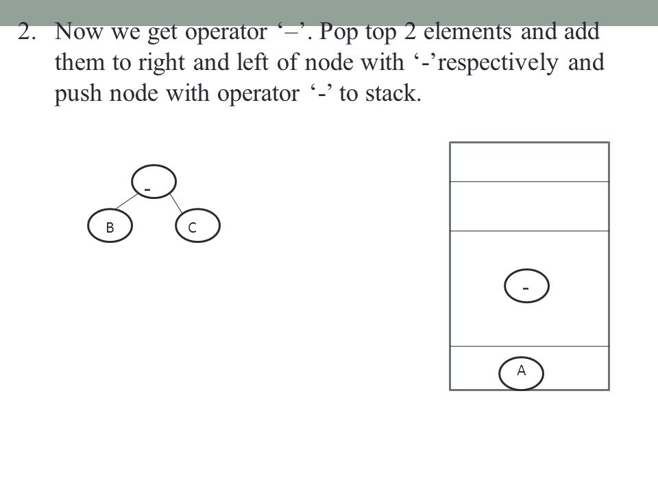 2.Now we get operator '–'. Pop top 2 elements and add them to right and left of node with '-'respectively and push node with operator '-' to stack. -