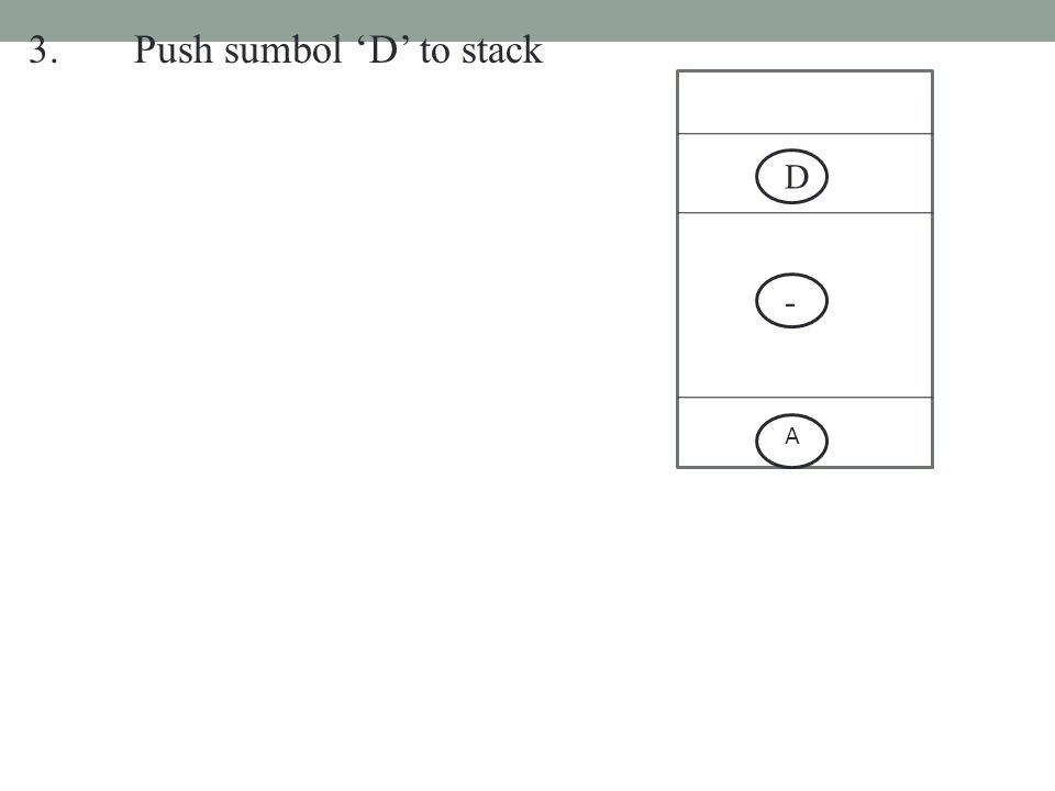 3.Push sumbol 'D' to stack - A D