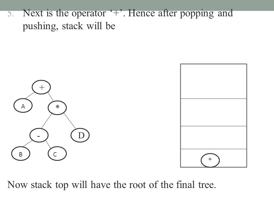 5. Next is the operator '+'. Hence after popping and pushing, stack will be Now stack top will have the root of the final tree. - BC * D + + A