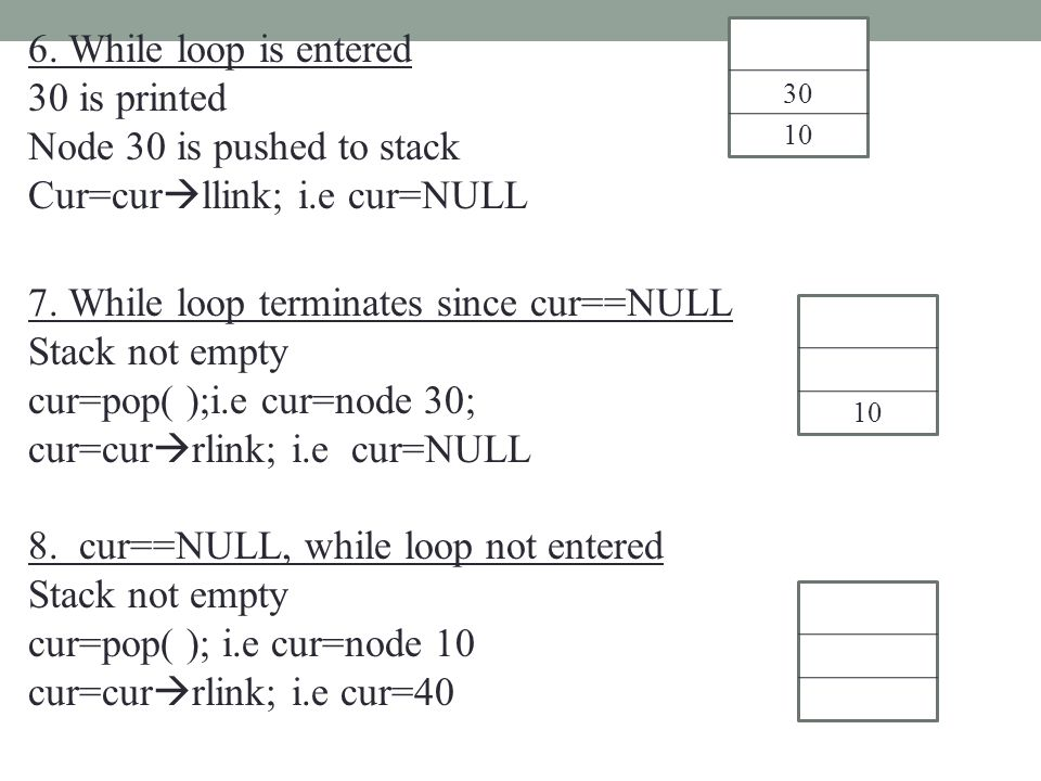 6. While loop is entered 30 is printed Node 30 is pushed to stack Cur=cur  llink; i.e cur=NULL 7. While loop terminates since cur==NULL Stack not emp