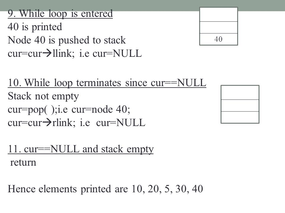 9. While loop is entered 40 is printed Node 40 is pushed to stack cur=cur  llink; i.e cur=NULL 10. While loop terminates since cur==NULL Stack not em