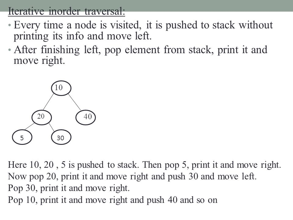 Iterative inorder traversal: Every time a node is visited, it is pushed to stack without printing its info and move left. After finishing left, pop el