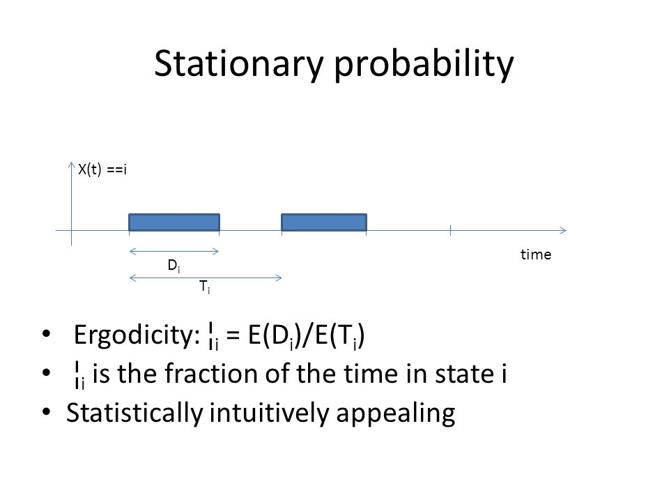 Stationary probability Ergodicity: ¦ i = E(D i )/E(T i ) ¦ i is the fraction of the time in state i Statistically intuitively appealing X(t) ==i TiTi