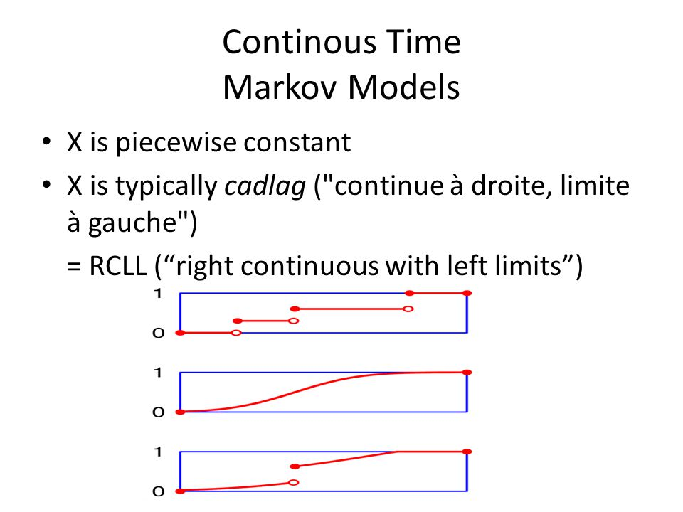 Continous Time Markov Models X is piecewise constant X is typically cadlag ( continue à droite, limite à gauche ) = RCLL ( right continuous with left limits )