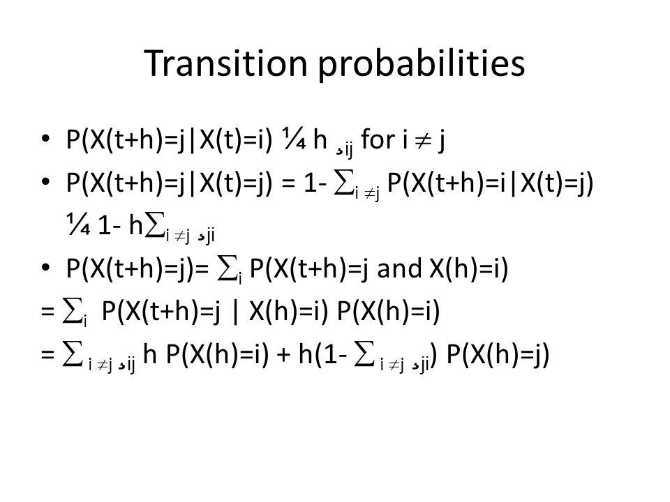 Transition probabilities P(X(t+h)=j|X(t)=i) ¼ h ¸ ij for i  j P(X(t+h)=j|X(t)=j) = 1-  i  j P(X(t+h)=i|X(t)=j) ¼ 1- h  i  j ¸ ji P(X(t+h)=j)=  i P(X(t+h)=j and X(h)=i) =  i P(X(t+h)=j | X(h)=i) P(X(h)=i) =  i  j ¸ ij h P(X(h)=i) + h(1-  i  j ¸ ji ) P(X(h)=j)