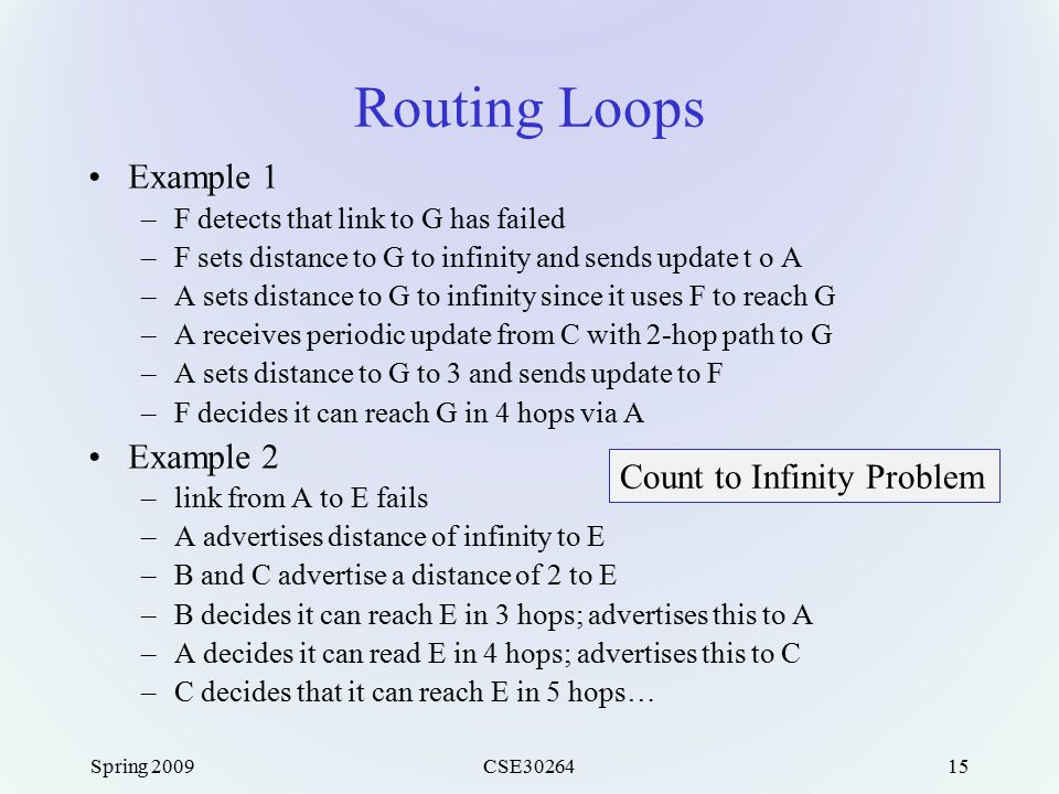 Spring 2009CSE3026415 Routing Loops Example 1 –F detects that link to G has failed –F sets distance to G to infinity and sends update t o A –A sets distance to G to infinity since it uses F to reach G –A receives periodic update from C with 2-hop path to G –A sets distance to G to 3 and sends update to F –F decides it can reach G in 4 hops via A Example 2 –link from A to E fails –A advertises distance of infinity to E –B and C advertise a distance of 2 to E –B decides it can reach E in 3 hops; advertises this to A –A decides it can read E in 4 hops; advertises this to C –C decides that it can reach E in 5 hops… Count to Infinity Problem