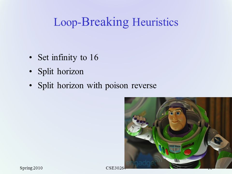 Spring 2010CSE3026416 Loop- Breaking Heuristics Set infinity to 16 Split horizon Split horizon with poison reverse
