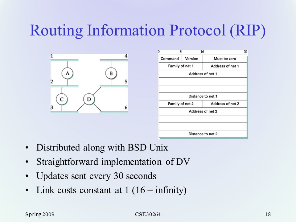 Spring 2009CSE3026418 Routing Information Protocol (RIP) Distributed along with BSD Unix Straightforward implementation of DV Updates sent every 30 se