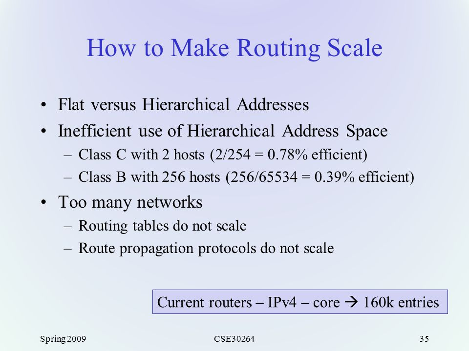 Spring 2009CSE3026435 How to Make Routing Scale Flat versus Hierarchical Addresses Inefficient use of Hierarchical Address Space –Class C with 2 hosts (2/254 = 0.78% efficient) –Class B with 256 hosts (256/65534 = 0.39% efficient) Too many networks –Routing tables do not scale –Route propagation protocols do not scale Current routers – IPv4 – core  160k entries
