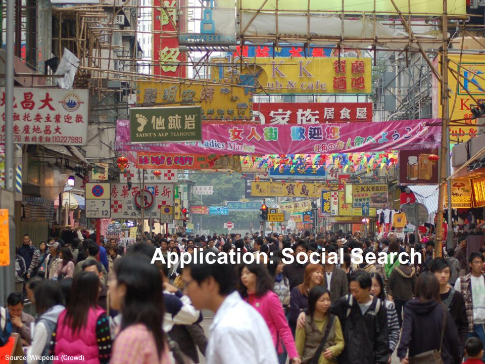 Application: Social Search Source: Wikipedia (Crowd)