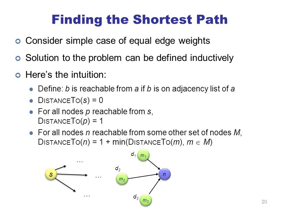 Finding the Shortest Path Consider simple case of equal edge weights Solution to the problem can be defined inductively Here's the intuition: Define: b is reachable from a if b is on adjacency list of a D ISTANCE T O (s) = 0 For all nodes p reachable from s, D ISTANCE T O (p) = 1 For all nodes n reachable from some other set of nodes M, D ISTANCE T O (n) = 1 + min(D ISTANCE T O (m), m  M) s s m3m3 m3m3 m2m2 m2m2 m1m1 m1m1 n n … … … d1d1 d2d2 d3d3 20