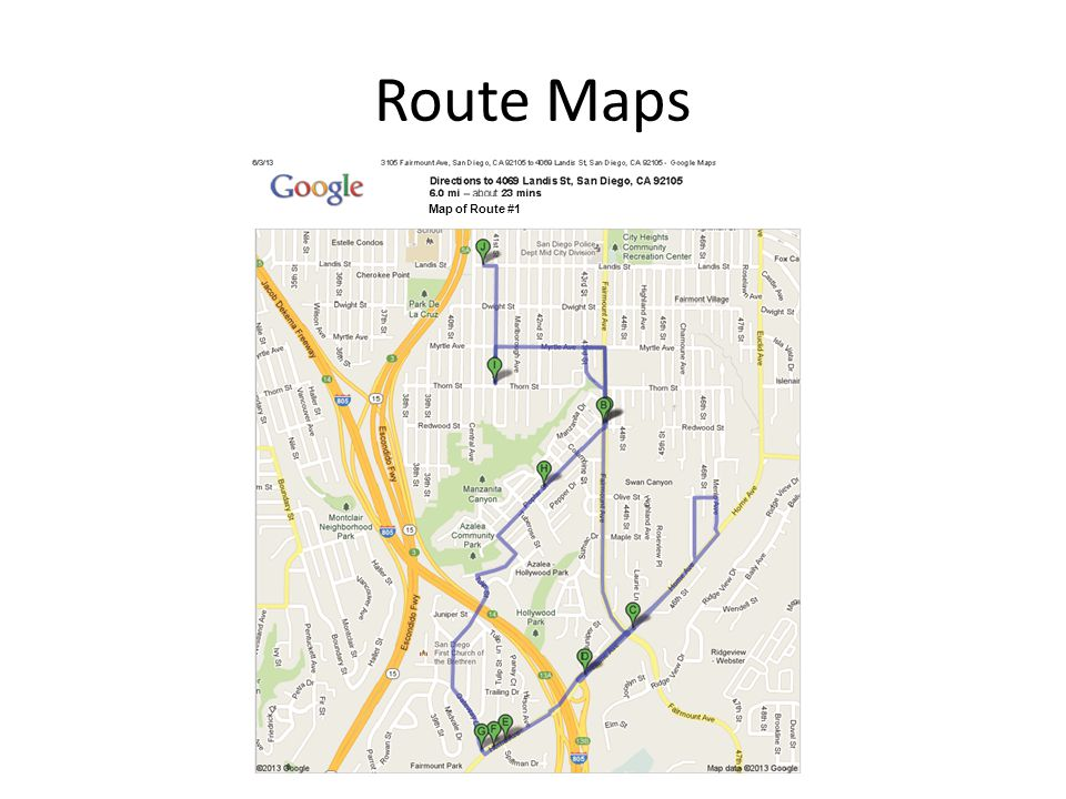 Route Maps Map of Route #1