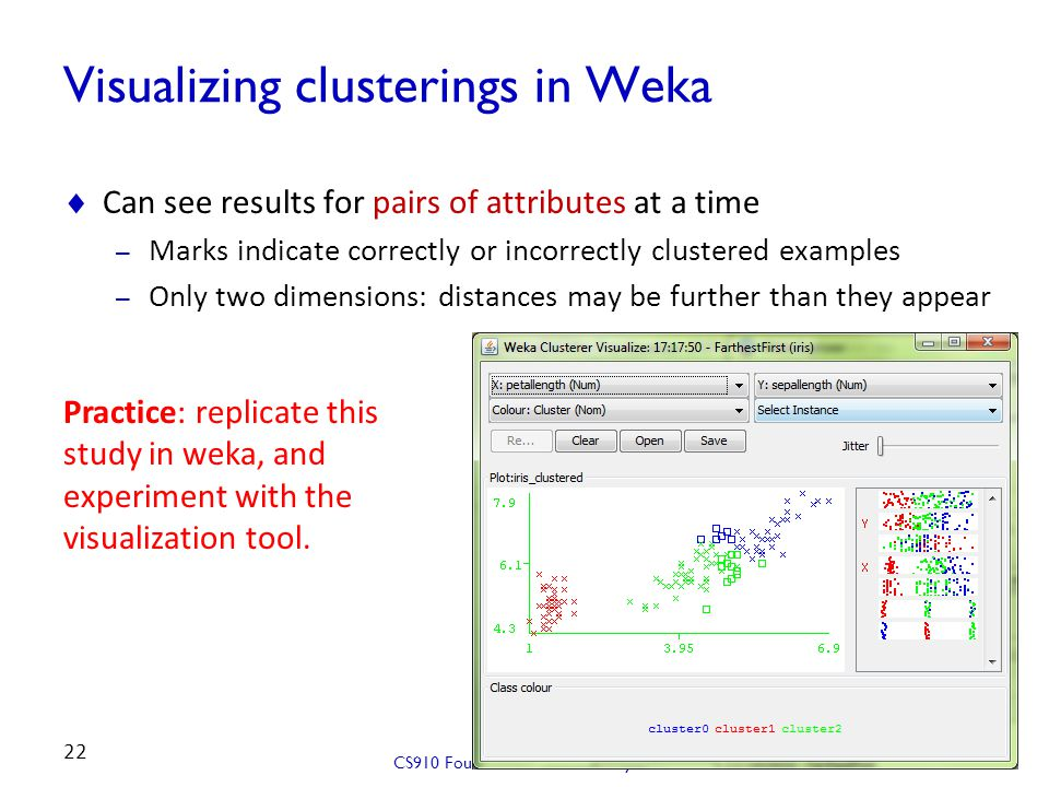 Visualizing clusterings in Weka  Can see results for pairs of attributes at a time – Marks indicate correctly or incorrectly clustered examples – Onl