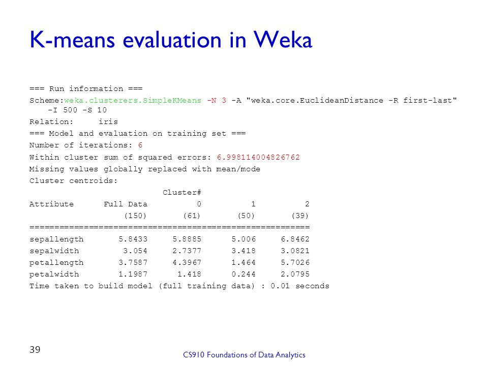 K-means evaluation in Weka === Run information === Scheme:weka.clusterers.SimpleKMeans -N 3 -A
