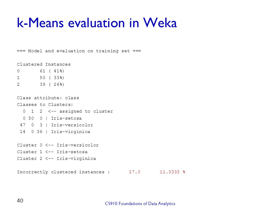 k-Means evaluation in Weka === Model and evaluation on training set === Clustered Instances 0 61 ( 41%) 1 50 ( 33%) 2 39 ( 26%) Class attribute: class