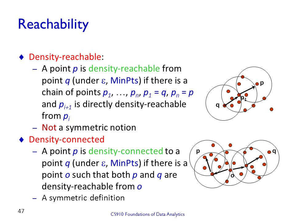 Reachability  Density-reachable: – A point p is density-reachable from point q (under , MinPts) if there is a chain of points p 1, …, p n, p 1 = q,