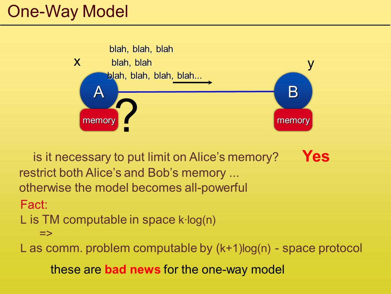 One-Way Model x AABB y memorymemorymemorymemory blah, blah, blah blah, blah blah, blah, blah, blah...