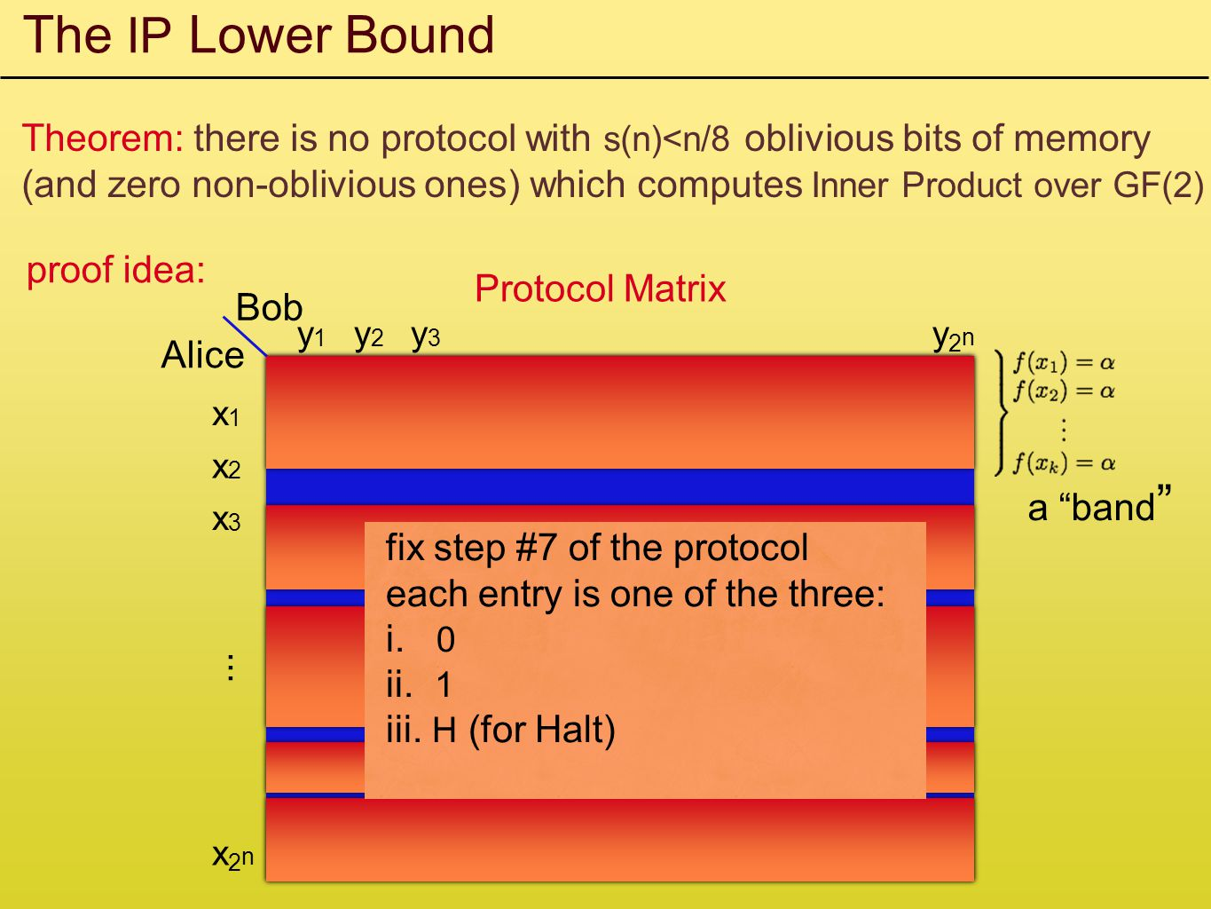 The IP Lower Bound Theorem: there is no protocol with s(n)<n/8 oblivious bits of memory (and zero non-oblivious ones) which computes Inner Product over GF(2) proof idea: Alice Bob x1x1 x2x2 x3x3...