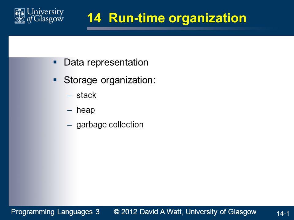14-1 14 Run-time organization  Data representation  Storage organization: –stack –heap –garbage collection Programming Languages 3 © 2012 David A Watt, University of Glasgow