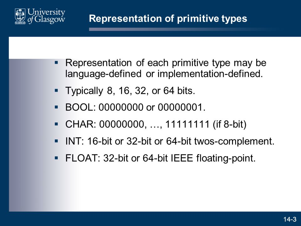 14-3 Representation of primitive types  Representation of each primitive type may be language-defined or implementation-defined.