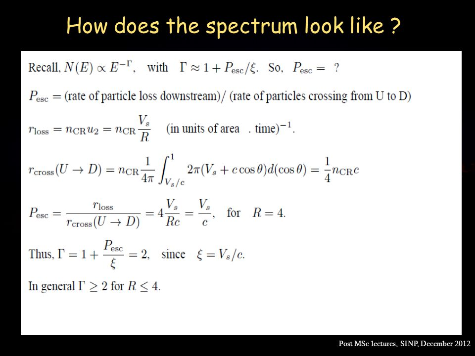How does the spectrum look like ? Post MSc lectures, SINP, December 2012