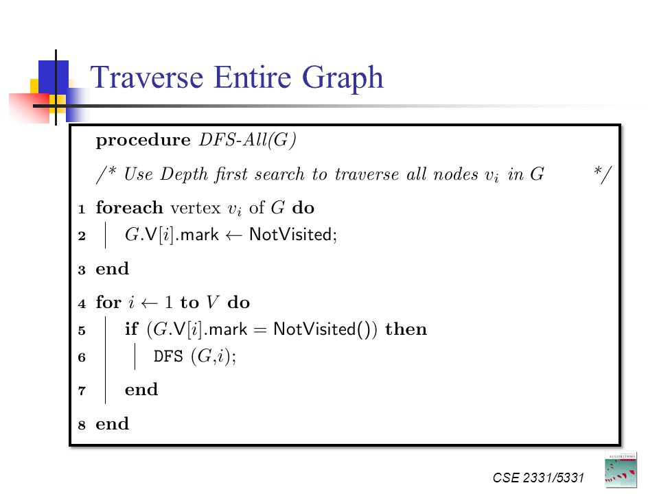 Traverse Entire Graph CSE 2331/5331