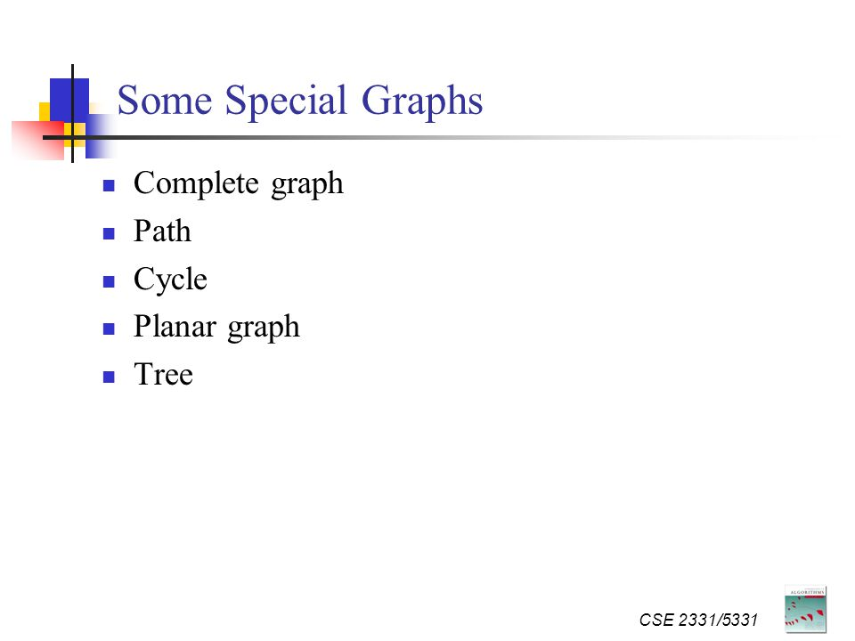 Some Special Graphs Complete graph Path Cycle Planar graph Tree CSE 2331/5331