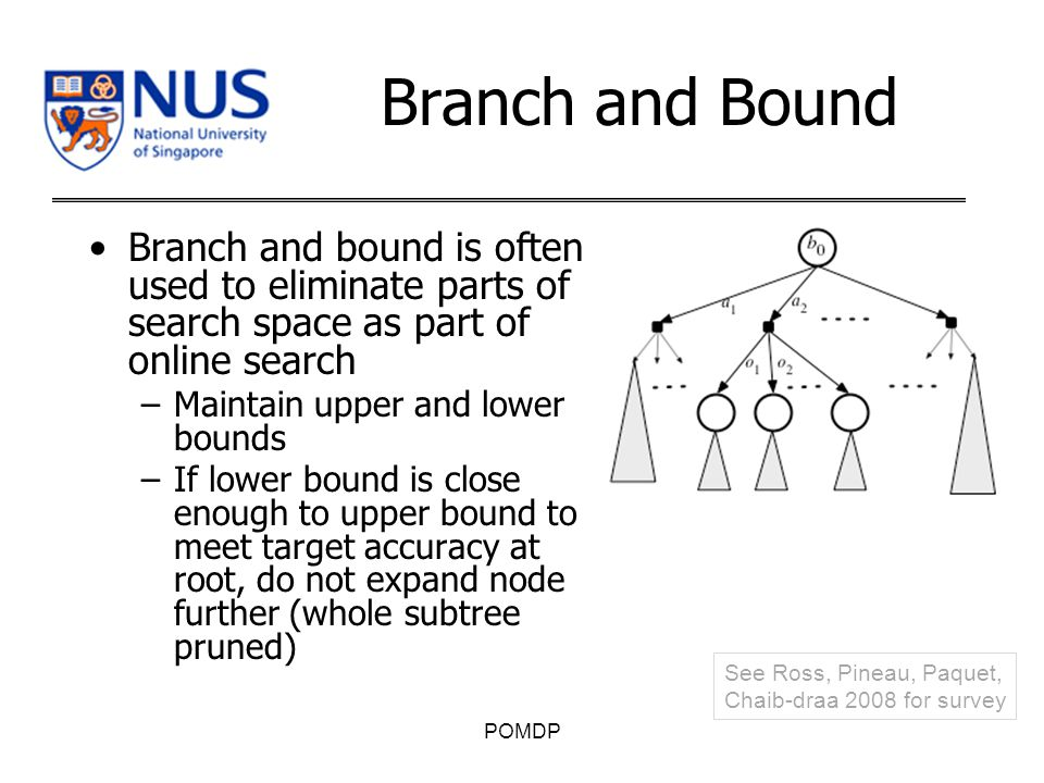 Branch and Bound Branch and bound is often used to eliminate parts of search space as part of online search –Maintain upper and lower bounds –If lower bound is close enough to upper bound to meet target accuracy at root, do not expand node further (whole subtree pruned) POMDP See Ross, Pineau, Paquet, Chaib-draa 2008 for survey