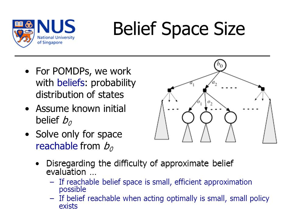 Belief Space Size For POMDPs, we work with beliefs: probability distribution of states Assume known initial belief b 0 Solve only for space reachable from b 0 Disregarding the difficulty of approximate belief evaluation … –If reachable belief space is small, efficient approximation possible –If belief reachable when acting optimally is small, small policy exists