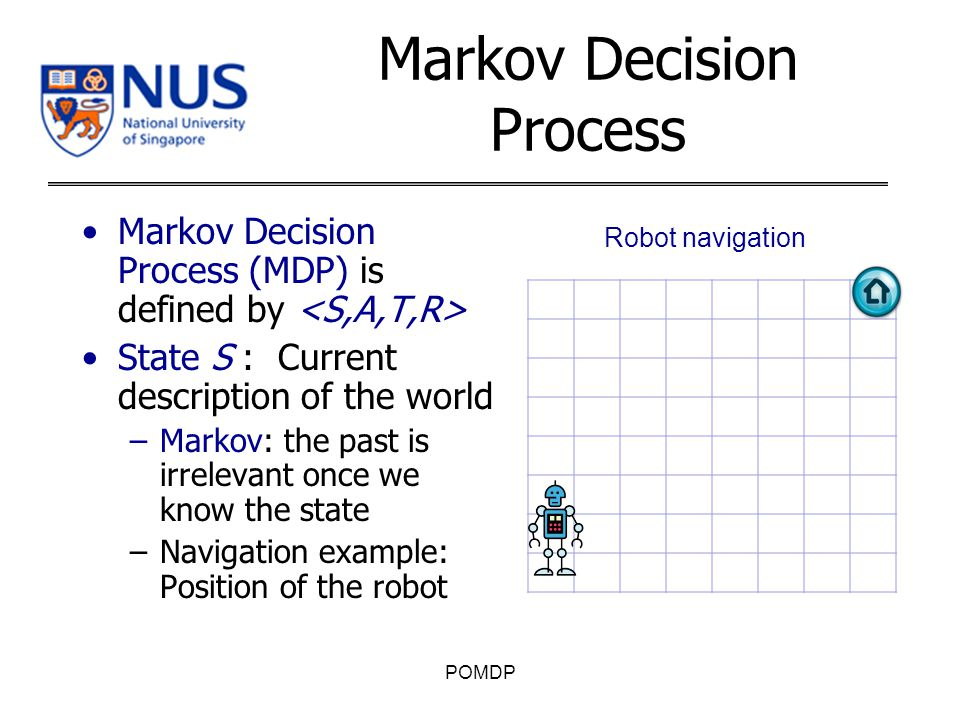 Markov Decision Process Markov Decision Process (MDP) is defined by State S : Current description of the world –Markov: the past is irrelevant once we know the state –Navigation example: Position of the robot POMDP Robot navigation