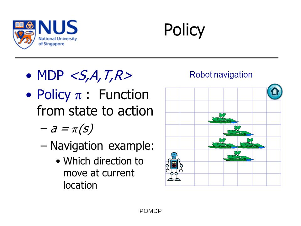MDP Policy π : Function from state to action –a = π (s) –Navigation example: Which direction to move at current location POMDP Robot navigation Policy