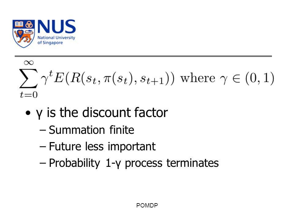 γ is the discount factor –Summation finite –Future less important –Probability 1-γ process terminates POMDP