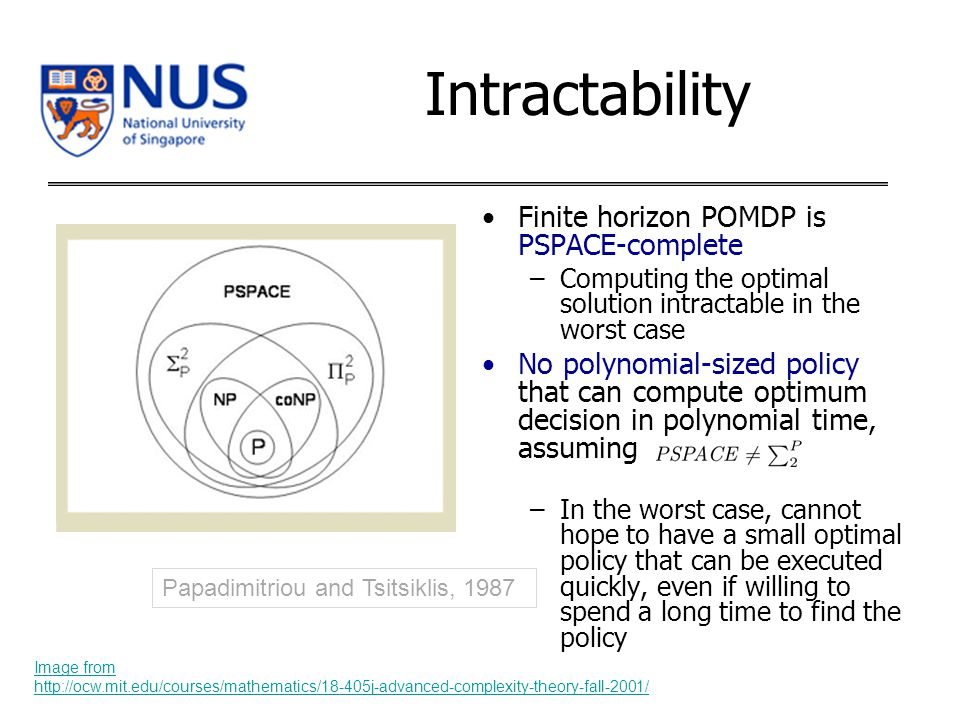 Intractability Finite horizon POMDP is PSPACE-complete –Computing the optimal solution intractable in the worst case No polynomial-sized policy that can compute optimum decision in polynomial time, assuming –In the worst case, cannot hope to have a small optimal policy that can be executed quickly, even if willing to spend a long time to find the policy Papadimitriou and Tsitsiklis, 1987 Image from http://ocw.mit.edu/courses/mathematics/18-405j-advanced-complexity-theory-fall-2001/