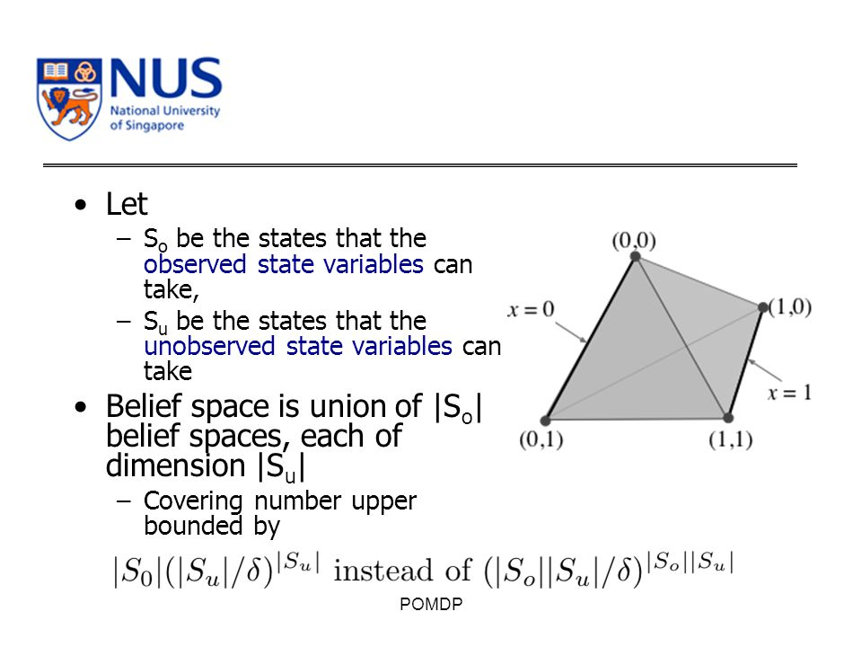 Let –S o be the states that the observed state variables can take, –S u be the states that the unobserved state variables can take Belief space is union of |S o | belief spaces, each of dimension |S u | –Covering number upper bounded by POMDP