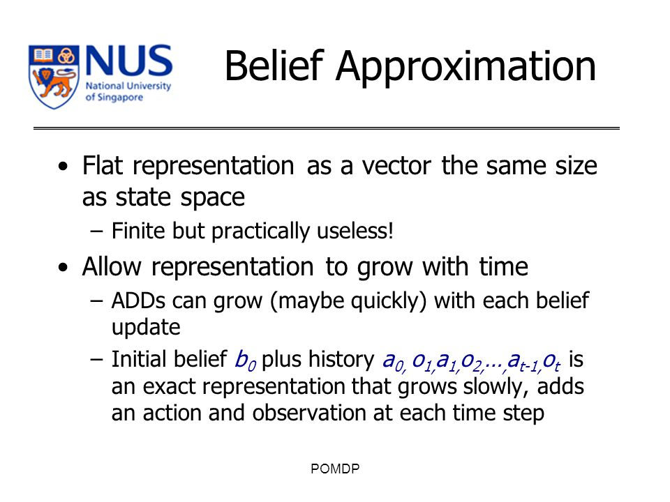 Belief Approximation Flat representation as a vector the same size as state space –Finite but practically useless.