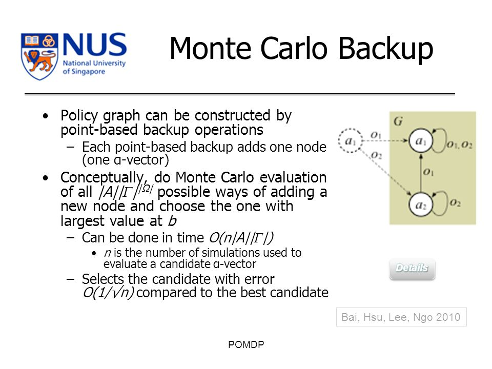 Monte Carlo Backup Policy graph can be constructed by point-based backup operations –Each point-based backup adds one node (one α-vector) Conceptually, do Monte Carlo evaluation of all |A|| Γ | |Ω| possible ways of adding a new node and choose the one with largest value at b –Can be done in time O(n|A|| Γ |) n is the number of simulations used to evaluate a candidate α-vector –Selects the candidate with error O(1/√n) compared to the best candidate POMDP Bai, Hsu, Lee, Ngo 2010