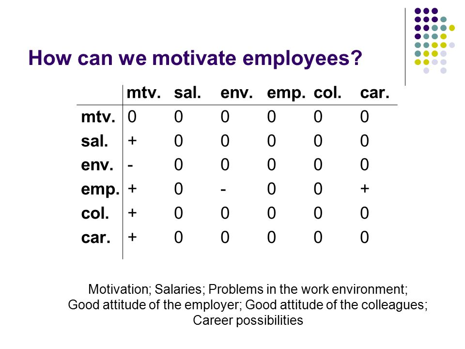How can we motivate employees. mtv.sal.env.emp.col.car.