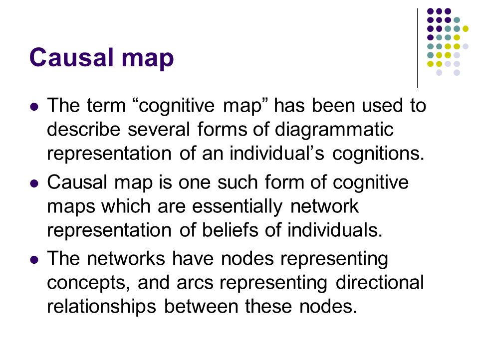 Causal map The maps are a network of nodes and arrows as links (a particular type of 'directed graph' (Harary et al., 1965; Harary, 1972), where the direction of the arrow implies believed causality.