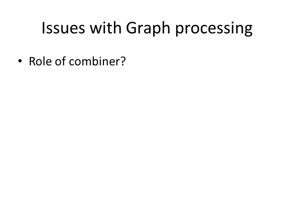 Issues with Graph processing Role of combiner?