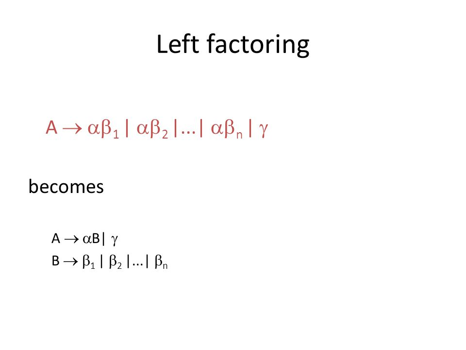 Left factoring A   1    2  ...   n    becomes A   B   B   1    2  ...   n